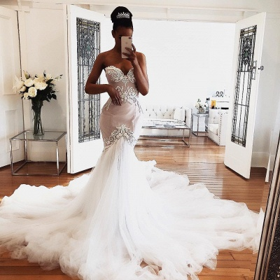 Sweetheart Lace Wedding Dresses Online | Sexy Sleeveless Mermaid Bridal Gowns_3