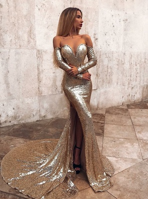 Wholesale Off The Shoulder Champagne Sequins Prom Dresses | Elegant Long Sleeve Side Slit Evening Gowns_2