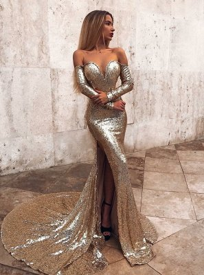 Wholesale Off The Shoulder Champagne Sequins Prom Dresses | Elegant Long Sleeve Side Slit Evening Gowns_1