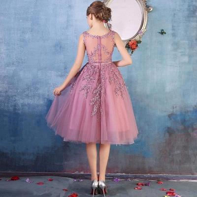 ЭМИРА | A-Line Crew Tea Length Кружева Appliques Короткие платья выпускного вечера_13