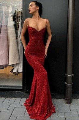Sexy einfache Rote Pailletten Lange Abendkleider | Günstige Spaghettiträger Abendkleider 2021 BC0920_1